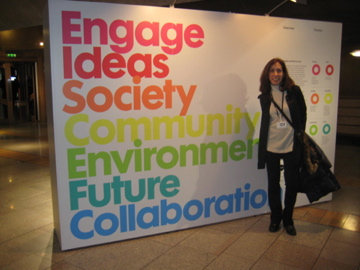 Jill Gross visiting the Design & Democracy exhibit in Scotland
