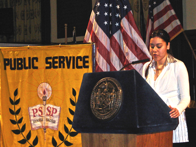 Jenny Alcaide at a speaking engagement during her time with the Public Service Scholar Program.