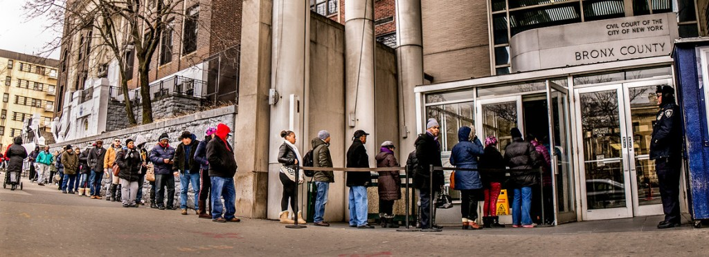 A Line formed outside of Bronx Housing Court